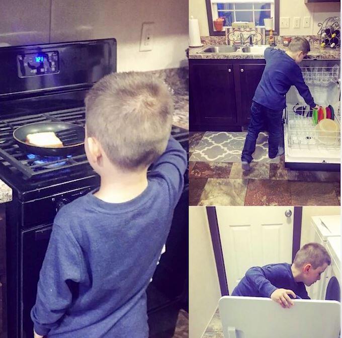 Bild zu Sohn, Hausarbeit, Mutter, Hilfe, Erziehung, Selbstständigkeit