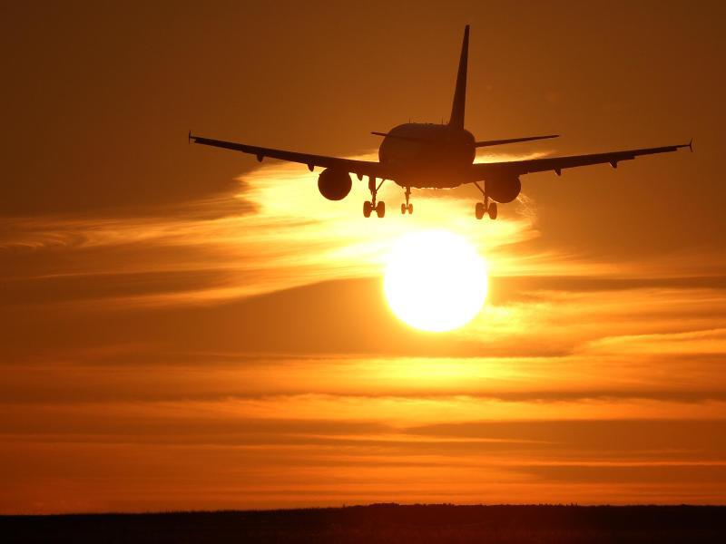 Bild zu Flugzeug im Abendlicht