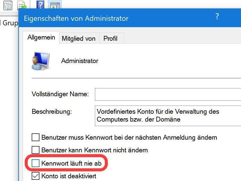 Bild zu Passwort-Optionen bei Windows