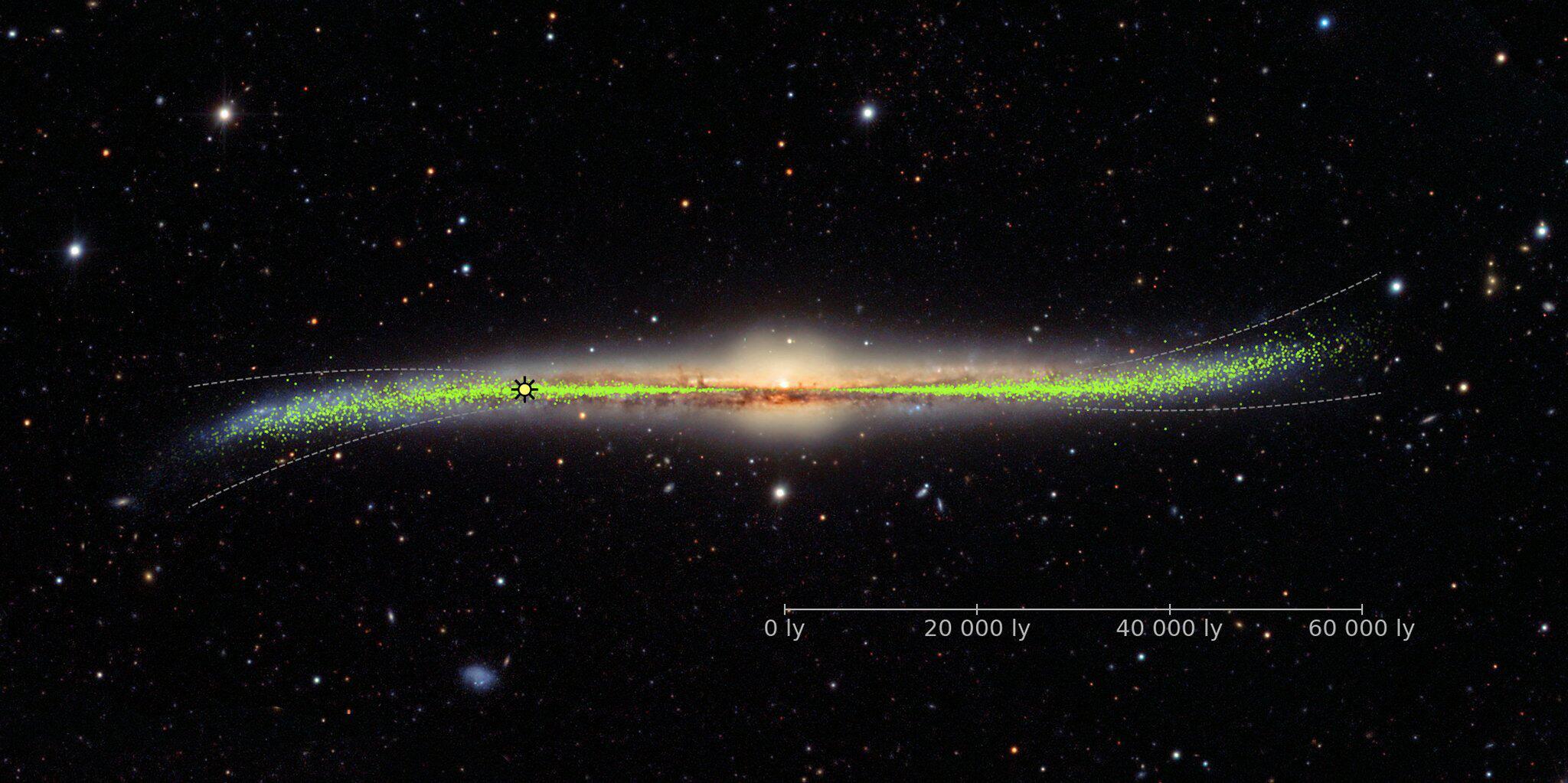 Bild zu Detailkarte der Milchstraße zeigt verbogene Scheibe