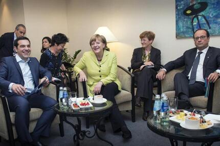 Treffen Merkel, Tsipras und Hollande