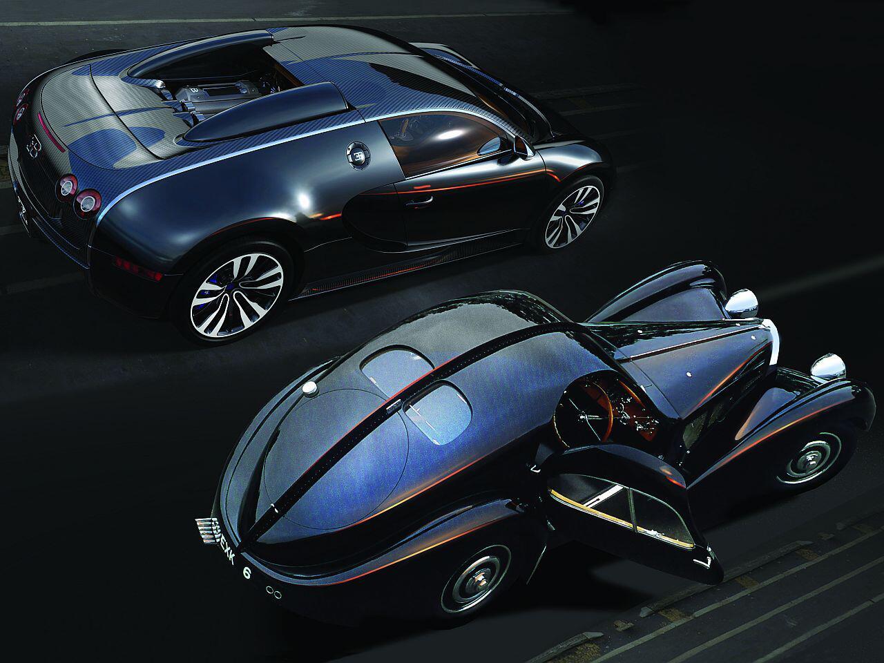 Bild zu Ein starkes Duo: Der Bugatti Sang Noir mit dem Bugatti Typ 57S Atlantic: