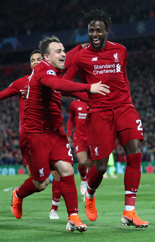 Bild zu FC Liverpool, FC Barcelona, Champions League, Halbfinale, Tor, Jubel, Alexander-Arnold, Shaqiri