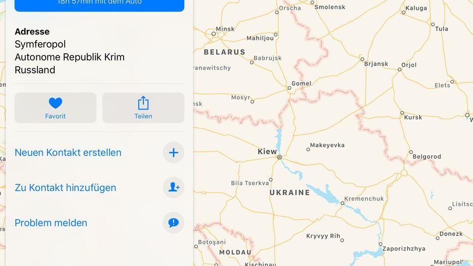 Apple zeigt Krim nun als russisches Staatsgebiet