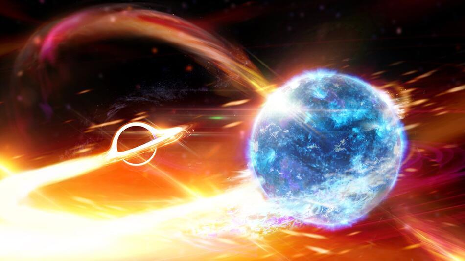 Schwarzes Loch frisst Neutronenstern «wie Pac-Man»