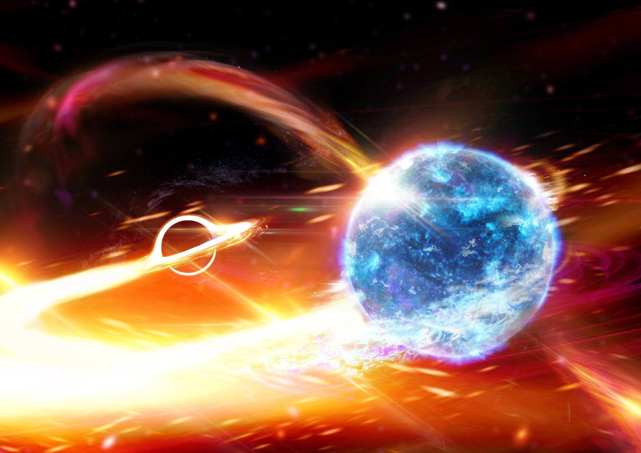 Bild zu Schwarzes Loch frisst Neutronenstern «wie Pac-Man»