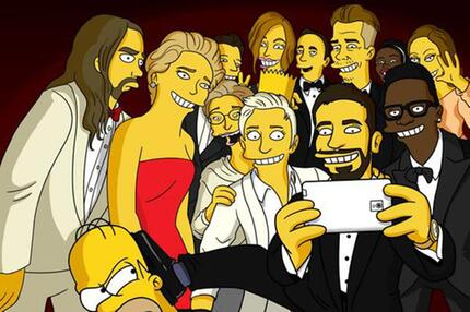 Homer Simpson auf dem Oscar Selfie