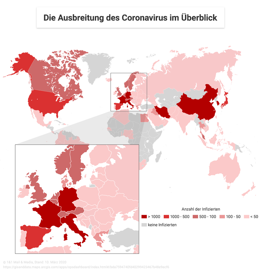 Infografik Ausbreitung des Coronavirus im Überblick