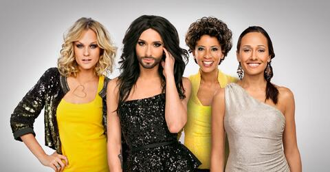 Das sind die ESC-Damen: Arabella Kiesbauer, Alice Tumler,  Mirjam Weicheslbraun und Conchita Wurst.