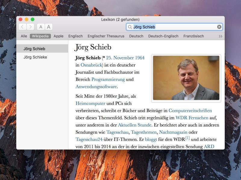 Bild zu Wikipedia-Suche bei macOS